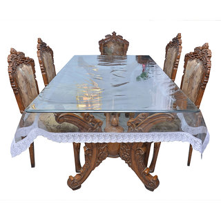 Prime Dining Table Cover Transparent with White Lace 68 Seater