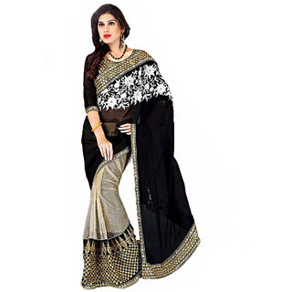 Meia Beige & Black Georgette Embroidered Saree With Blouse