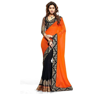 Online Fayda Black & Orange Georgette Embroidered Saree With Blouse