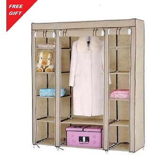 Buy BROWN 3 Door Foldable Almirah Wardrobe Cupboard Online - Get 70% on kitchen cabinet, chest of drawers, hoosier cabinet,