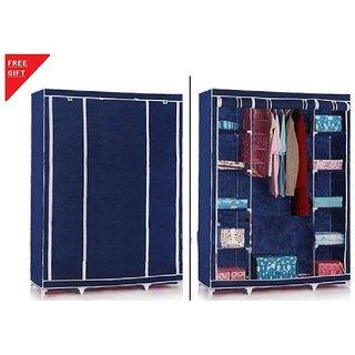 3 DOOR BLUE Foldable wardrobe Almirah Cupboard