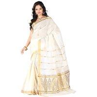 Fashionkiosks Kerala Pure Cotton Kasavu Mango Design Jari pallu with jari border  with Blouse