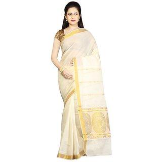 Fashionkiosks Kerala Pure Cotton Kasavu  Chakra Design Jari pallu with jari border  with Blouse