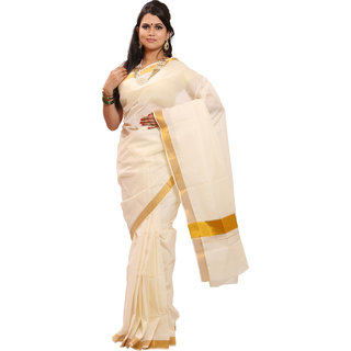 Fashion kioksks Kerala Cream Colour Kasavu Pure Cotton Plain Gold Zari Border Worked Saree and Blouse Attached