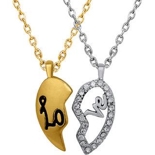 Mahi Valentine Crystal Love Broken Heart Gold Rhodium Plated Pendant Ps1101