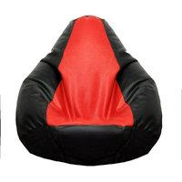 Fat Finger Fabric Xxxl Bean Bag Cover - (Black Red, 28 Inch X 42 Inch)