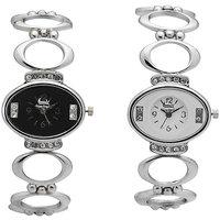 Foxy Trend Oval Dial Silver Metal Strap Womens Quartz Watch