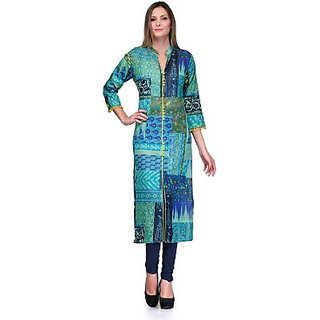 Star Kurti Printed, Applique Womens Straight Kurta Blue