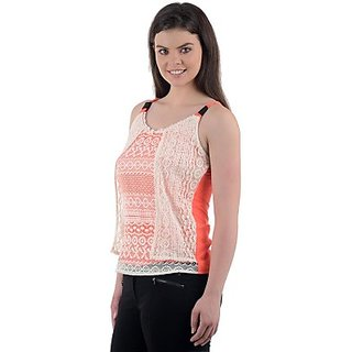 Casual Sleeveless Self Design Womens Top