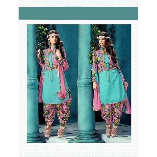 Thankar Embroidered Sky Bhagalpuri Silk Patiala