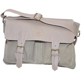 B-World Men'S Grey Leather Side Bag b420