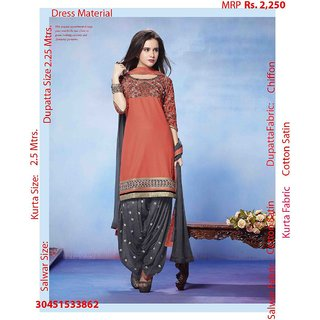 orange and grey embroidered latest dress material