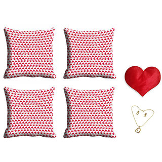 meSleep Red Heart Valentine Cushion Cover (16x16) - Set of 4 With Free Heart Shaped Filled Cushion and Pendant Set