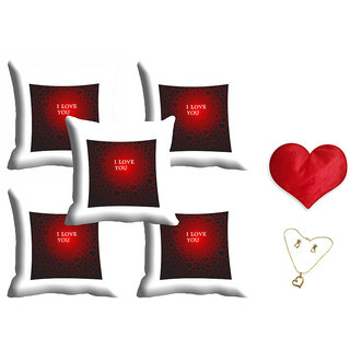 meSleep Love U Valentine Cushion Cover (16x16) - Set of 5 With Free Heart Shaped Filled Cushion and Pendant Set