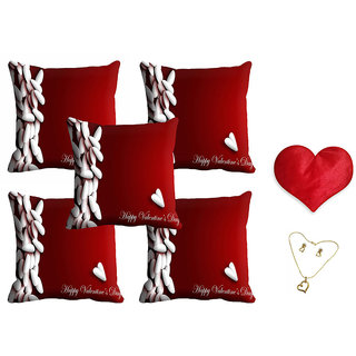 meSleep Red Happy Valentine Cushion Cover (16x16) - Set of 5 With Free Heart Shaped Filled Cushion and Pendant Set