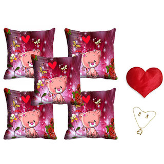 meSleep Pink Teddy Valentine Cushion Cover (16x16) - Set of 5 With Free Heart Shaped Filled Cushion and Pendant Set