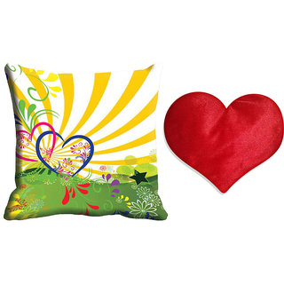 meSleep Yellow Valentine Cushion Cover (16x16) With Free Heart Shaped Filled Cushion