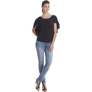 ONLY  Black Round Neck top