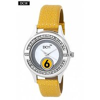 DCH WT 1246 Yellow Analog Watch For Girls With 12 Months Warranty