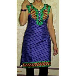 Cotton Violet with Green Printed Neckline & Bottom Embroidered Kurti (1125)