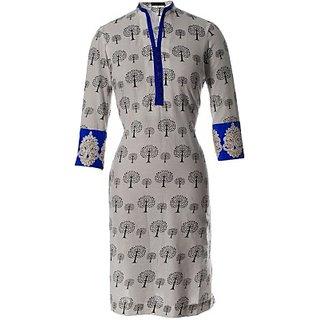 AzraJamil Casual, Formal Printed, Embroidered Zari High Neck  Womens Kurti