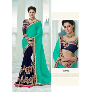 Fab Valley Green & Blue Georgette Embroidered Saree With Blouse