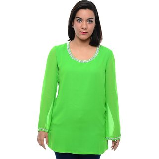 Chloe Women Wear in Solid Green Full Sleeve Georgette Kurti