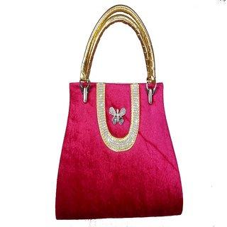 Ishika Styleses Pink Velvet Hand Bag