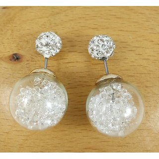 Imitation Pearl   Glass Double Side Earrings with White Zircon Stones Inside