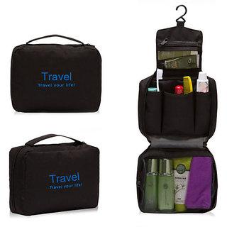 Ladies Mens  Zipper Bag Travel Bag Toiletries Makeup Organizer Bag Hanging-BLACK