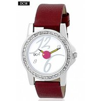 DCH WT 1233 Ruby Red Analog Watch For Girls With 12 Months Warranty