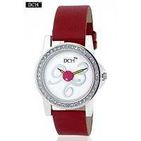 DCH WT 1234 Ruby Red Analog Watch For Girls With 12 Months Warranty
