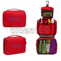 Ladies Mens Zipper Bag Travel Bag Toiletries Makeup Organizer Bag Hanging-RED