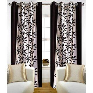 Geonature black Kolavery Polyster Door Curtains Set Of 4 Size 4x7 (G4CR7F-59)