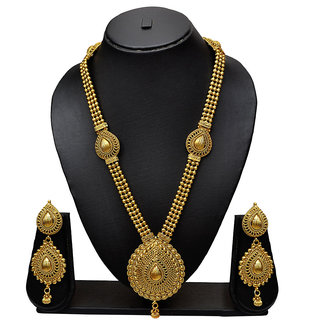 Pourni Antique Design Gorgeous Golden Finishing Long Necklace Earring Set