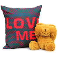 Gooey Brown Teddy with Beautiful Cushion Gift for Valentine GIFTS110141