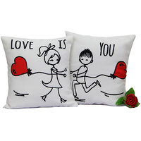 White N Red Love is you Duo Cushion Gift for Valentine GIFTS110251