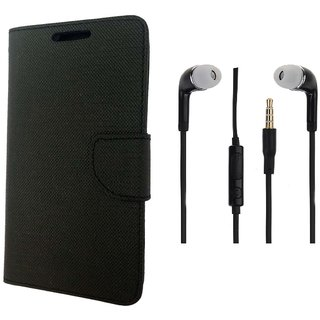 Micromax Xpress 4G Q413 Flip Cover Black and 3.5MM Stereo Earphones by VKR Cases