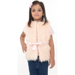 Joy n Fun Light Pink sleeveless Faux Fur Jacket for Girl