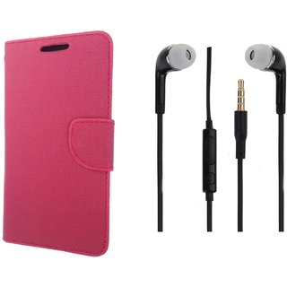 Lenovo Vibe P1 Premium Flip Cover Pink and 3.5MM Stereo Earphones by VKR Cases