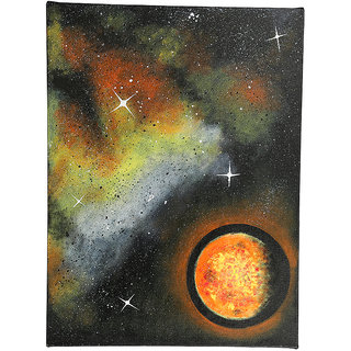 Hand-Painted Yellow Planet Classic Painting (HDCP0026_L)