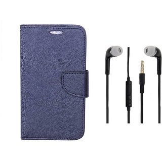 Gionee Maratho m5 Flip Cover Blue and 3.5MM Stereo Earphones by VKR Cases