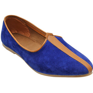 BLUE SUEDE LEATHER JALSA SLIP-ON WITH BROWN SOLE BY PORT