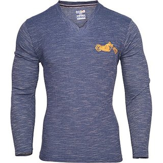 Humtees Solid Men blue in color full sleeves material cotton Vneck TShirt