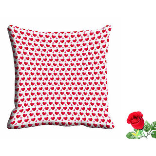 meSleep Red Heart Valentine Cushion Cover (16x16) With Free Artificial Rose