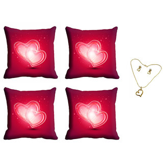 meSleep Red Valentine Cushion Cover (16x16) - Set of 4 With Pendant Set