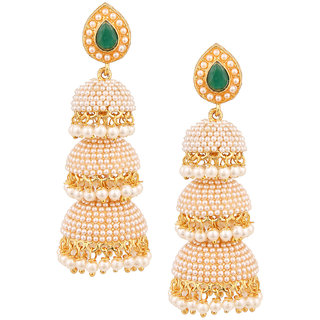 3ef15151d8751 Golden Coloured Jhumkas Earring Made Up Of Alloy By Shnella.
