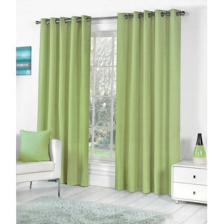 Geonature Green Polyster Eyelet Window Curtains Set Of 4 Size 4X5 (G4CR5F-46)