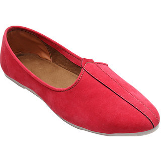 CRIMSON SUEDE LEATHER JALSA SLIP-ON WITH WHITE SOLE BY PORT
