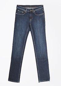 Lee Slim Fit Fit  Cotton Blend Denim Solid Casual Blue Womens Jeans